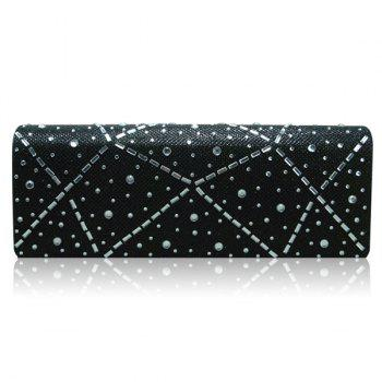 Blingbling Cover Rhinestone Evening Bag - BLACK BLACK