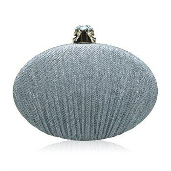 Ellipse Rhinestone Chains Pleated Evening Bag - SILVER SILVER