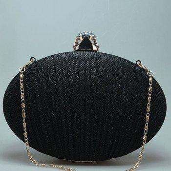 Ellipse Rhinestone Chains Pleated Evening Bag -  SILVER
