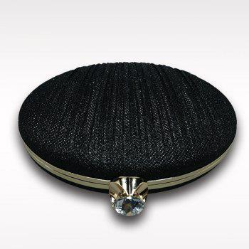 Ellipse Rhinestone Chains Pleated Evening Bag -  BLACK