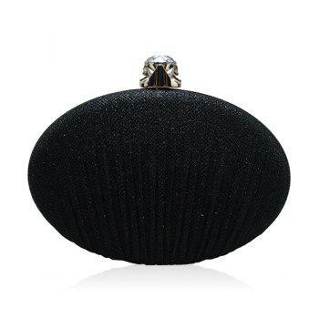 Ellipse Rhinestone Chains Pleated Evening Bag - BLACK BLACK