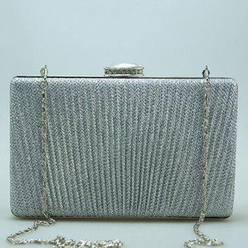 Clip Rhinestone Chain Pleated Evening Bag -  SILVER