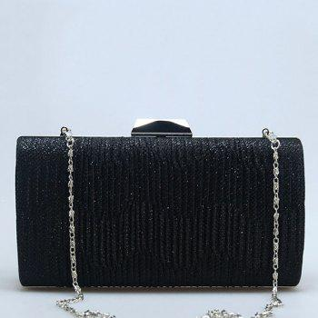 Chains Pleated Rhinestone Evening Bag -  BLACK