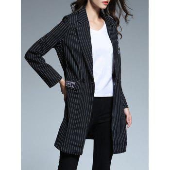 Striped Patched Blazer - BLACK XL