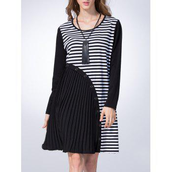 Loose Asymmetrical Stripe Straight Dress