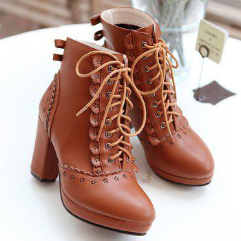 Lace-Up Engraving Chunky Heel Short Boots