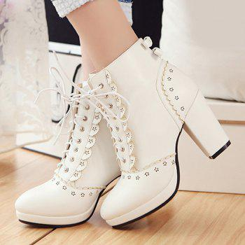 41 Off 2020 Lace Up Engraving Chunky Heel Short Boots