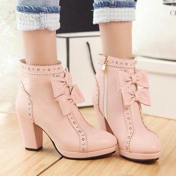 Bowknot Scalloped Engraving Chunky Heel Ankle Boots