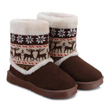 Deer Snowflake Knitted Flock Snow Boots