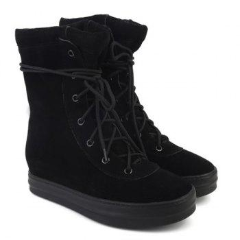 Eyelet Hidden Wedge Lace-Up Short Boots