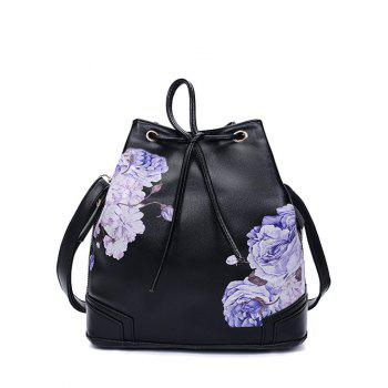 Drawstring Side Zip Peony Print Backpack