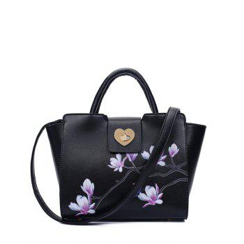 Winged Hasp Magnolia Flower Print Tote Bag