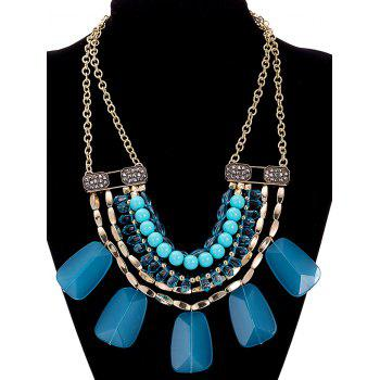 Faux Crystal Alloy Rhinestone Beaded Necklace