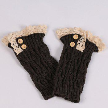 Buttons Lace Edge Rhombus Knitted Boot Cuffs -  BLACK