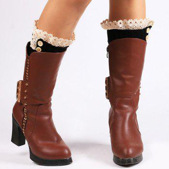 Buttons Lace Edge Rhombus Knitted Boot Cuffs - BLACK BLACK