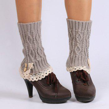 Buttons Lace Edge Rhombus Knitted Boot Cuffs - SMOKY GRAY SMOKY GRAY