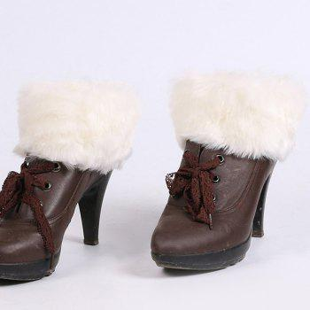 Faux Fur Edge Thicken Knitted Boot Cuffs - WHITE WHITE