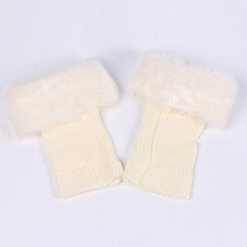 Faux Fur Edge Thicken Knitted Boot Cuffs -  WHITE