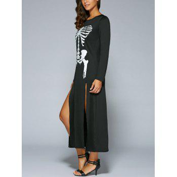 Halloween Long Sleeve Skeleton Print High Slit  Maxi Dress - BLACK S