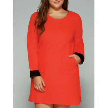 Plus Size Double Pockets Shift Dress
