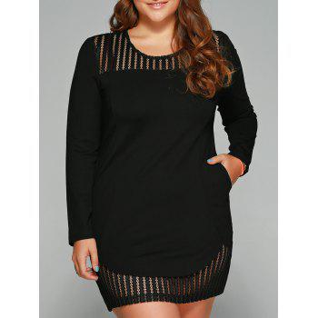 Plus Size See-Through Slash Pockets Dress