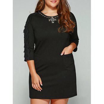 Plus Size Lace Trim Rhinestone Embellished Dress