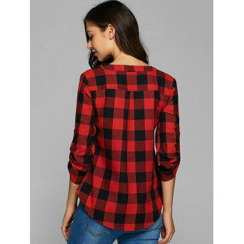 Plaid Loose-Fitting Cotton Blouse - RED S