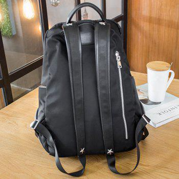 Zippers Nylon étoiles Backpack - Noir