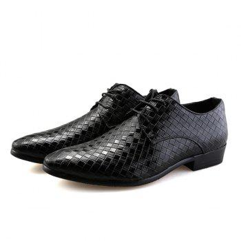 Tie Up Pointed Toe Woven Pattern Formal Shoes - BLACK 42