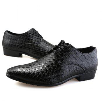 Tie Up Pointed Toe Woven Pattern Formal Shoes - BLACK BLACK