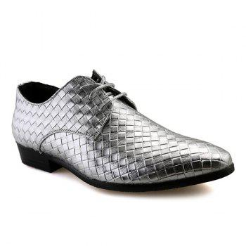 Tie Up Pointed Toe Woven Pattern Formal Shoes