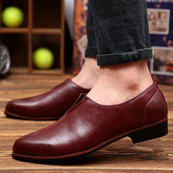 Elastic PU Leather Pointed Toe Formal Shoes - WINE RED WINE RED