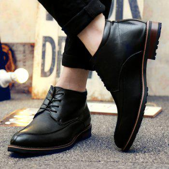 PU Leather Lace Up Pointed Toe Formal Shoes - BLACK BLACK