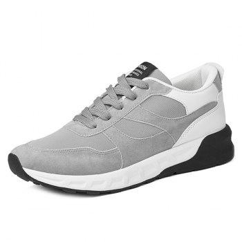 Buy Suede Mesh Spliced Color Block Athletic Shoes GRAY