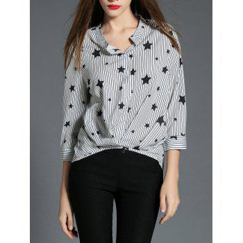 Shirred Striped Star Print Shirt