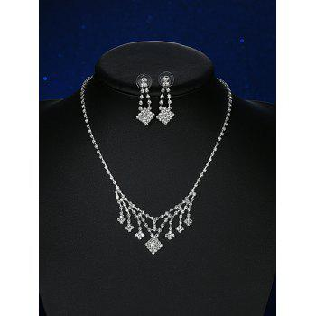 Rhinestoned Square Wedding Jewelry Set
