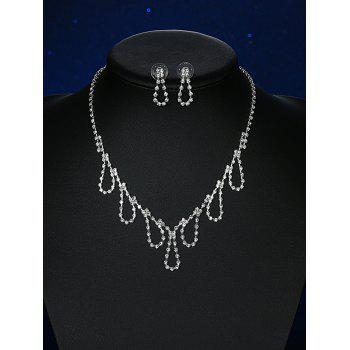 Rhinestoned Water Drop Wedding Jewelry Set