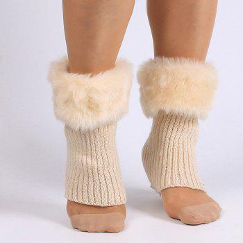 Faux Fur Edge Thicken Knitted Boot Cuffs