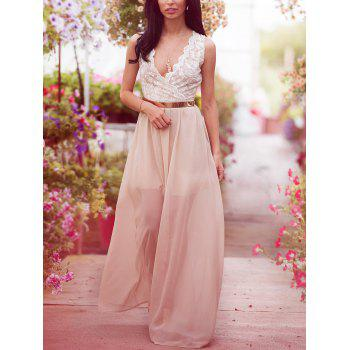 Lace Spliced Convertible Maxi Dress