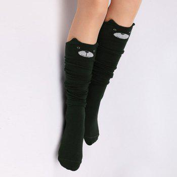 Little Bear Cartoon Thicken Winter Leg Warmer - BLACKISH GREEN