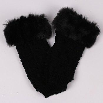 Winter Warm Plush Knitted Fingerless Butterfly Gloves - BLACK