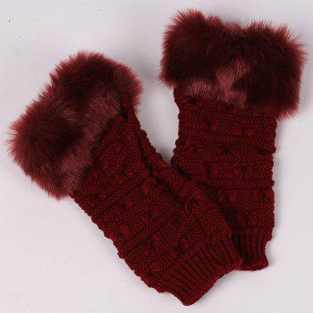 Winter Warm Plush Knitted Fingerless Butterfly Gloves - WINE RED