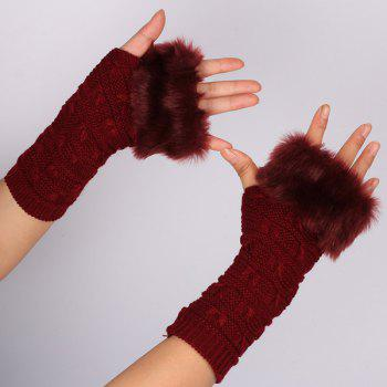 Winter Warm Plush Knitted Fingerless Butterfly Gloves