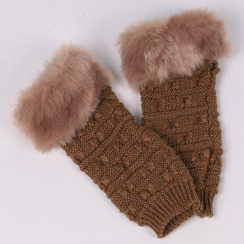 Winter Warm Plush Knitted Fingerless Butterfly Gloves -  BROWN
