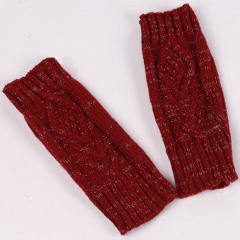 knitting Rhombus Line Embellished Fingerless  Gloves - RED