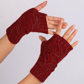 knitting Rhombus Line Embellished Fingerless  Gloves