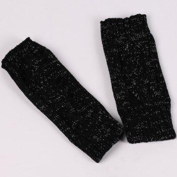 knitting Rhombus Line Embellished Fingerless  Gloves - BLACK