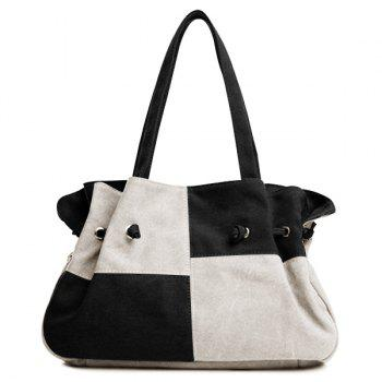 Colour Splicing Plaid Pattern Canvas Shoulder Bag