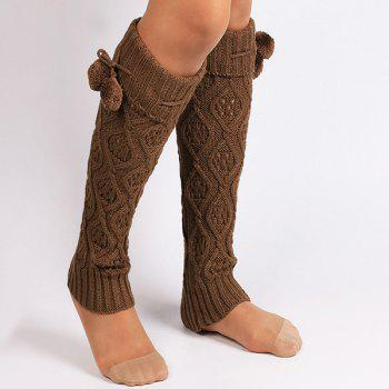 Small Ball Flanging Infinity Knitted Leg Warmers - GOLD BROWN GOLD BROWN