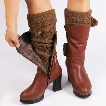 Small Ball Flanging Infinity Knitted Leg Warmers -  GOLD BROWN